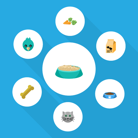 Flat Icon Animal Set Of Sparrow, Feeding, Kitty And Other Vector Objects. Also Includes Cat, Osseous, Wing Elements.