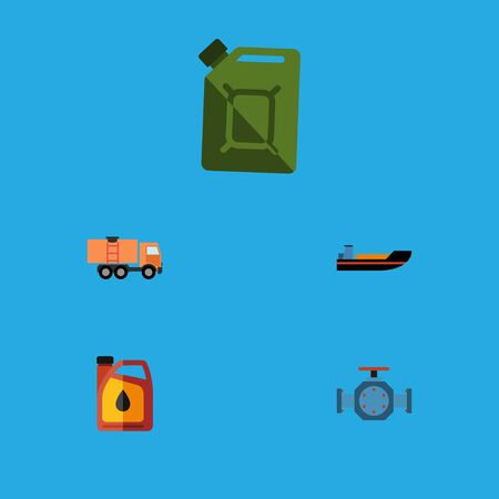Set Of Petrol, Boat, Van, Flange And Other Objects. Illustration