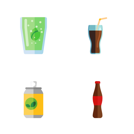 Flat Icon Soda Set Of Juice, Cup, Beverage And Other Vector Objects. Illustration