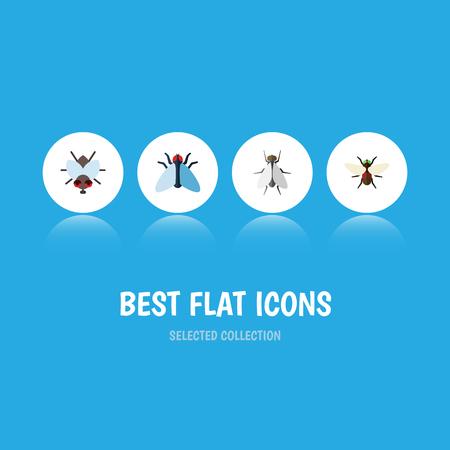 Housefly bug icon set.