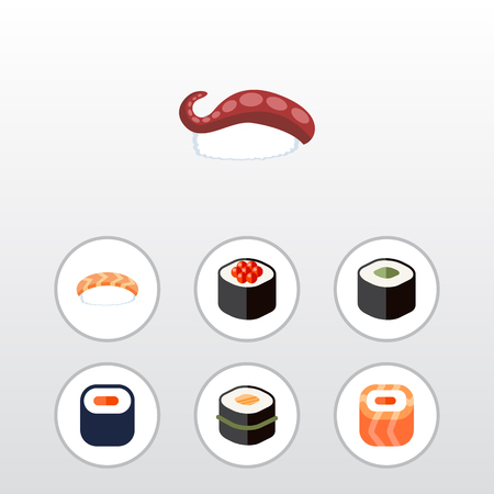 Icon set of Salmon, Seafood, Sashimi, Salmon Rolls And Other Objects.