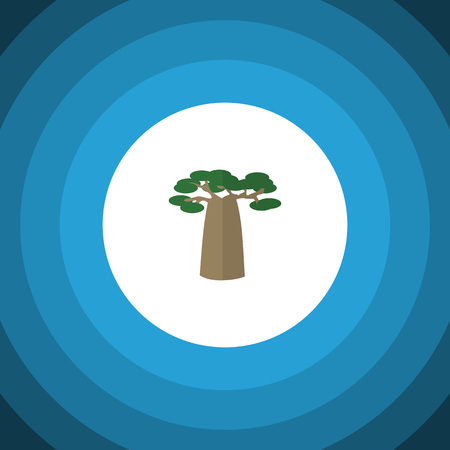 Isolated Decoration Tree Flat Icon. Baobab Vector Element Can Be Used For Tree, Park, Baobab Design Concept. Illustration