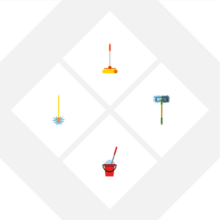 scrubbing: Flat Icon Mop Set Of Besom, Bucket, Broomstick And Other Vector Objects. Also Includes Mop, Besom, Broomstick Elements.