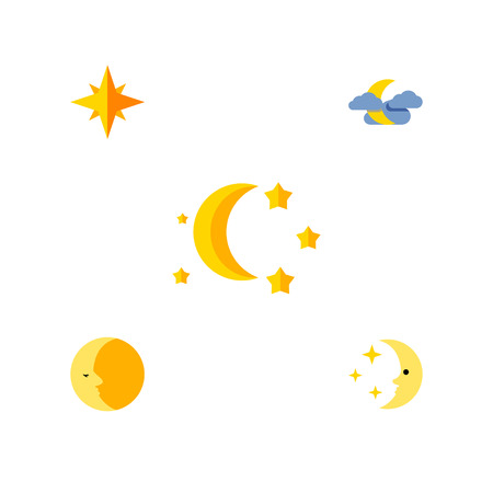 Flat Icon Night Set Of Midnight, Asterisk, Bedtime And Other Vector Objects. Also Includes Lunar, Asterisk, Nighttime Elements.