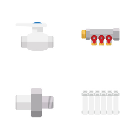 Flat Icon Pipeline Set Of Pipework, Flange, Connector And Other Vector Objects. Also Includes Thermostat, Connector, Pump Elements.