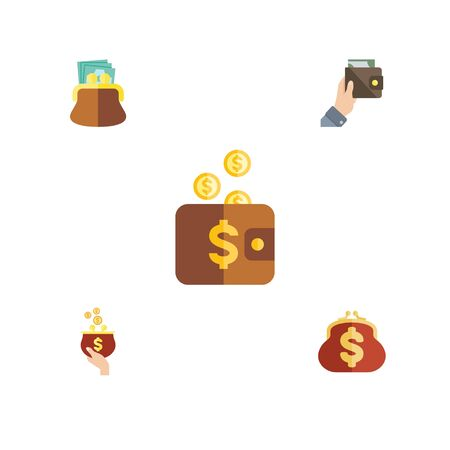 billfold: Flat Icon Wallet Set Of Saving, Purse, Pouch And Other Vector Objects. Also Includes Pouch, Money, Purse Elements. Illustration
