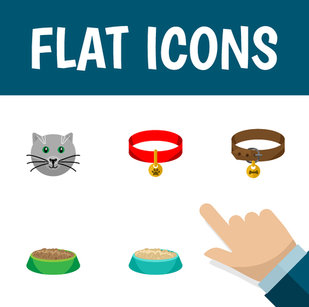Flat Icon Pets Set Of Hound Necklace, Rabbit Meal, Feeding And Other Vector Objects. Also Includes Collar, Hare, Cat Elements. Illustration