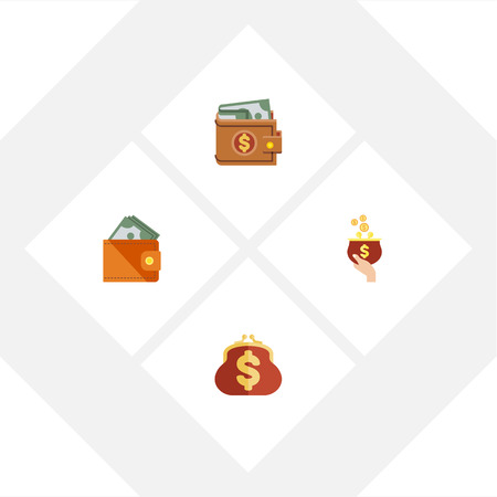 billfold: Flat Icon Purse Set Of Money, Saving, Currency And Other Vector Objects. Also Includes Saving, Billfold, Purse Elements.