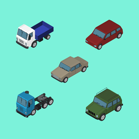 Isometric Automobile Set Of Car, Truck, Lorry And Other Vector Objects. Also Includes Auto, Motor, Truck Elements. Illustration