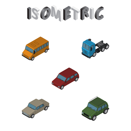 Isometric Transport Set Of Armored, Car, Truck And Other Vector Objects. Also Includes Motor, Truck, Drive Elements.