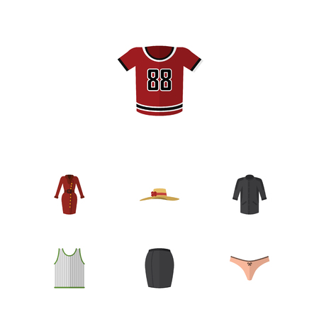 Flat Icon Dress Set Of Stylish Apparel, Clothes, Singlet And Other Vector Objects. Also Includes Woman, Singlet, Kimono Elements.
