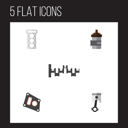 Platte pictogram Component Set van pakking, Drijfstang, Steels Shafts en andere Vectorobjecten. Bevat ook Verbranding, Zuiger, Conrod Elements. Stock Illustratie