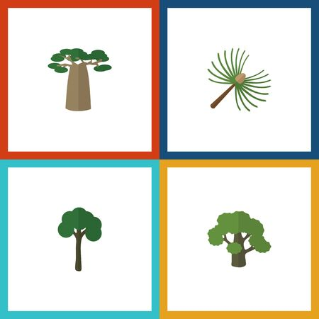 Flat Icon Nature Set Of Tree, Evergreen, Rosemary And Other Vector Objects. Also Includes Rosemary, Oak, Evergreen Elements.