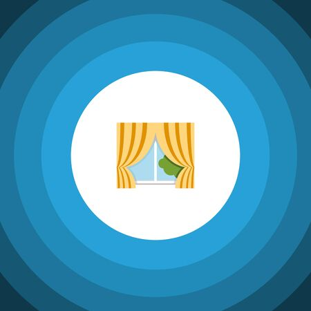 Isolated Curtain Flat Icon. Glass Frame Vector Element Can Be Used For Curtain, Glass, Frame Design Concept. Stock Photo