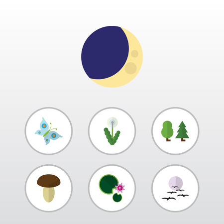 Flat icon nature set of Monarch, lotus And other vector objects. Illustration