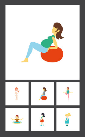 happy family: Flat Icon Pregnant Set Of Meditation, Mother, Lady And Other Vector Objects. Also Includes Fitness, Meditation, Pregnancy Elements.