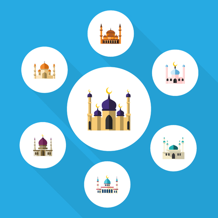 Flat Icon Mosque Set Of Muslim, Religion, Mohammedanism And Other Vector Objects. Also Includes Religion, Minaret, Structure Elements.