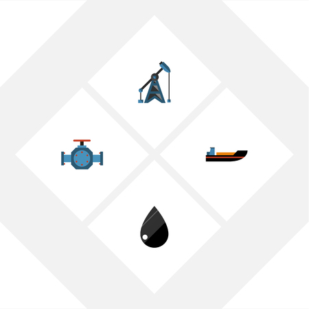 Flat Icon Fuel Set Of Rig, Droplet, Flange And Other Vector Objects. Also Includes Pipe, Oil, Ship Elements.