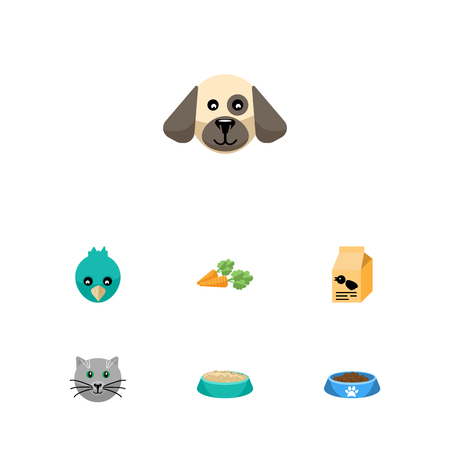 hounds: Flat Icon Pets Set Of Root Vegetable, Puppy, Kitty And Other Vector Objects