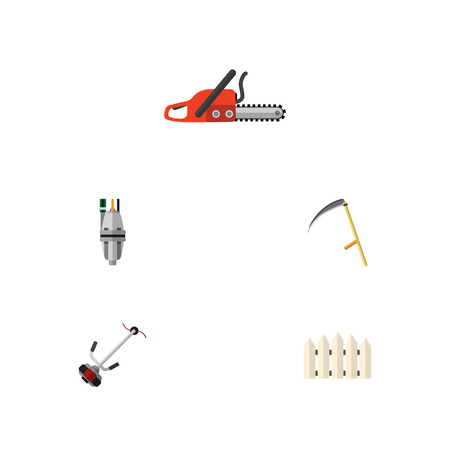 Flat Icon Dacha Set Of Cutter, Pump, Hacksaw And Other Vector Objects Illustration