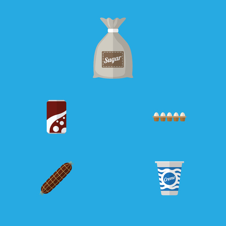 Flat Icon Eating Set Of Eggshell Box, Fizzy Drink, Smoked Sausage And Other Vector Objects