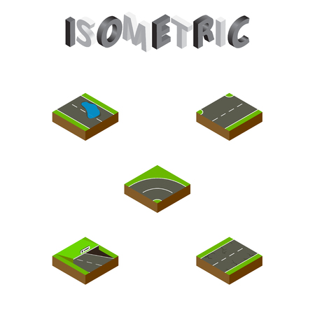 Isometric Way Set Of Plash, Underground, Upwards And Other Vector Objects Illustration