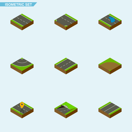 Isometric Road Set Of Subway, Driveway, Plane And Other Vector Objects