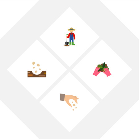 Flat Icon Sow Set Of Plant, Man, Sow And Other Vector Objects