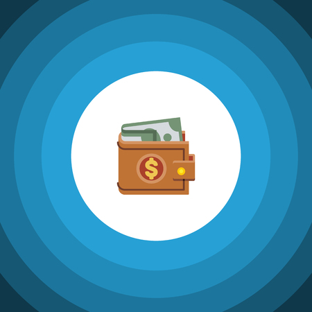 billfold: Money Vector Element Can Be Used For Wallet, Money, Purse Design Concept.  Isolated Wallet Flat Icon.