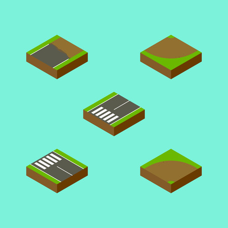 Isometric Way Set Of Unfinished, Sand, Turn Vector Objects
