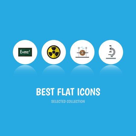 Flat Icon Science Set Of Electrical Engine, Glass, Theory Of Relativity And Other Vector Objects Illustration