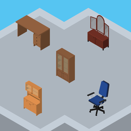 Isometric Furnishing Set Of Cupboard, Cabinet, Table And Other Vector Objects Illustration
