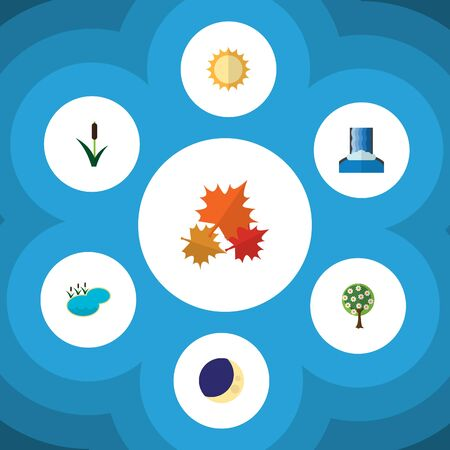 Flat Icon Natural Set Of Cattail, Pond, Solar And Other Vector Objects Illustration