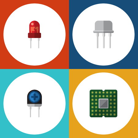 electronic components: Flat Icon Appliance Set Of Unit, Resist, Transducer And Other Vector Objects Illustration