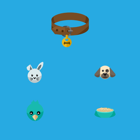 hounds: Flat Icon Animal Set Of Bunny, Hound Necklace, Feeding And Other Vector Objects. Also Includes Sparrow, Wing, Rabbit Elements.