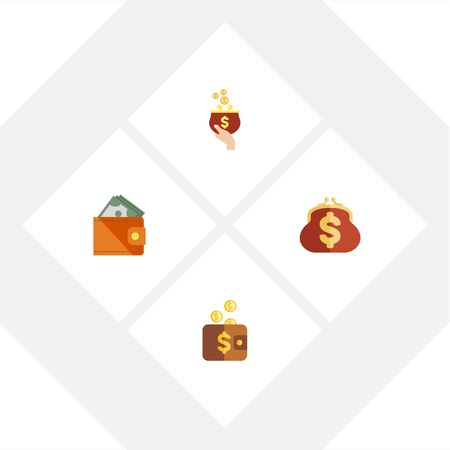 billfold: Flat Icon Wallet Set Of Currency, Wallet, Payment And Other Vector Objects. Also Includes Purse, Saving, Currency Elements.