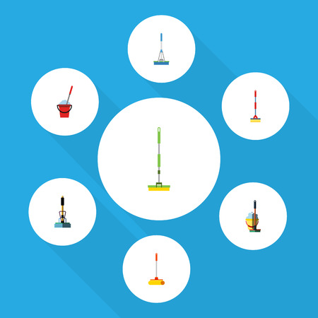 besom: Flat Icon Cleaner Set Of Broom, Equipment, Sweep And Other Vector Objects. Also Includes Equipment, Cleaner, Mop Elements. Illustration