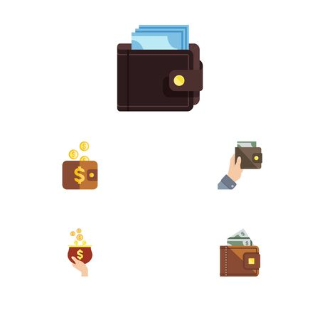 billfold: Flat Icon Purse Set Of Finance, Payment, Billfold And Other Vector Objects. Also Includes Cash, Payment, Pouch Elements. Illustration