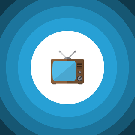blue widescreen widescreen: Isolated Old Tv Flat Icon. Television Vector Element Can Be Used For Tv, Television, Broadcast Design Concept. Illustration