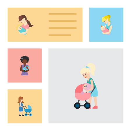 Flat Icon Mother Set Of Child, Mam, Mother And Other Vector Objects. Also Includes Mam, Mother, Nanny Elements.