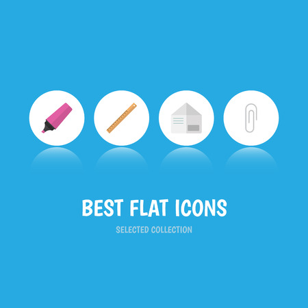 Flat Icon Equipment Set Of Letter, Marker, Fastener Page And Other Vector Objects. Also Includes Tool, Straightedge, Fastener Elements. Illustration