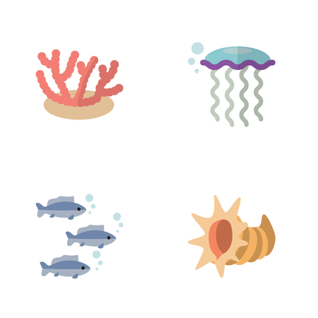 Flat Icon Sea Set Of Tuna, Seashell, Algae And Other Vector Objects. Also Includes Underwater, Cockleshell, Coral Elements. Illustration