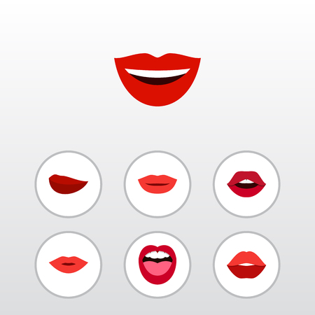 Flat Icon Lips Set Of Smile, Teeth, Lipstick And Other Vector Objects. Also Includes Kiss, Tongue, Pomade Elements. Illustration