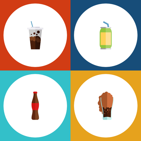Flat Icon Drink Set Of Soda, Juice, Drink And Other Vector Objects. Also Includes Carbonated, Drink, Fizzy Elements. Illustration