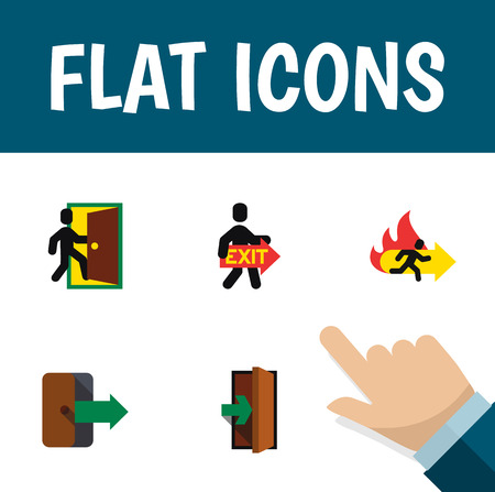 doorknob: Flat Icon Emergency Set Of Evacuation, Fire Exit, Directional And Other Vector Objects. Also Includes Exit, Directional, Emergency Elements. Illustration