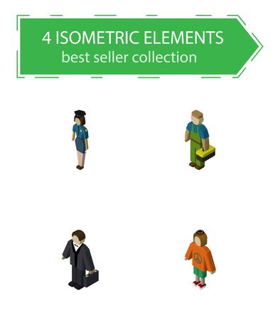 Isometric People Set Of Plumber, Lady, Policewoman And Other Vector Objects. Also Includes Officer, Investor, Technician Elements. Illustration