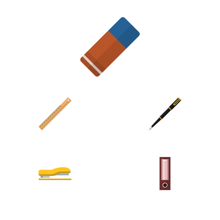 Flat Icon Stationery Set Of Dossier, Rubber, Straightedge And Other Vector Objects. Also Includes Measure, Writing, Pen Elements. Illustration