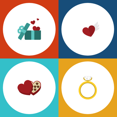 pareja comiendo: Flat Icon Heart Set Of Engagement, Gift, Shaped Box And Other Vector Objects. Also Includes Shaped, Gift, Engagement Elements.