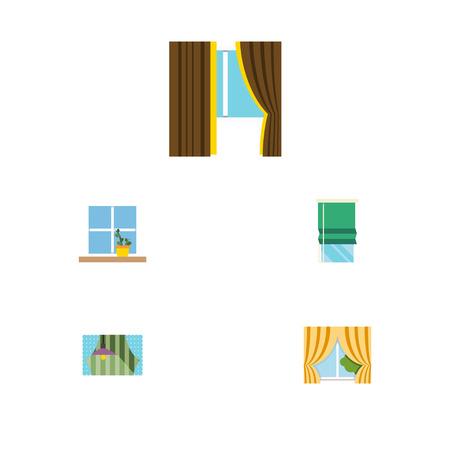 Flaches Ikonen-Glas-Set Glas, Balkon, Vorhang und andere Vektor-Gegenstände. Beinhaltet auch Balkon, Topf, Rahmenelemente. Standard-Bild - 87282363