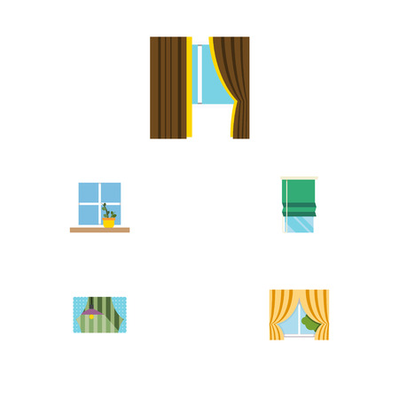 windows frame: Flat Icon Glass Set Of Glass, Balcony, Curtain And Other Vector Objects. Also Includes Balcony, Pot, Frame Elements.